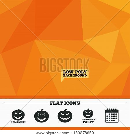 Triangular low poly orange background. Halloween pumpkin icons. Halloween party sign symbol. All Hallows Day celebration. Calendar flat icon. Vector
