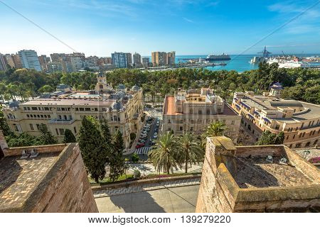 Panoramic view at Alcazaba in Malaga, Andalusia, Spain. The Alcazaba is Malaga's most important landmark, and overlooks the city from a hilltop inland.