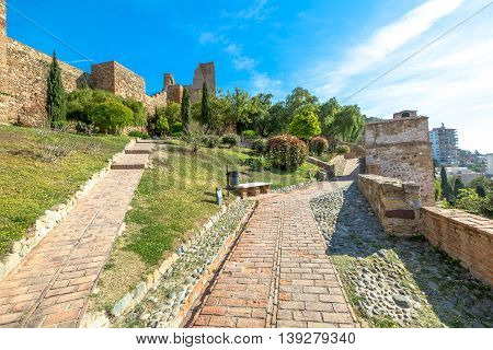 Alcazaba in Malaga the best preserved Moorish fortress palace in Andalusia, Spain.