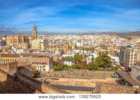 Panoramic view at Alcazaba of Malaga with skyline of city, the best preserved Moorish fortress palace in Andalusia, Spain.