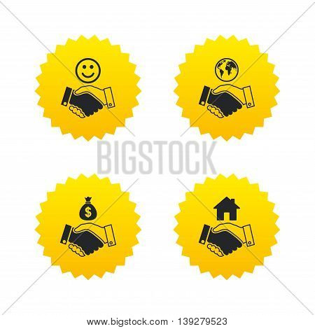 Handshake icons. World, Smile happy face and house building symbol. Dollar cash money bag. Amicable agreement. Yellow stars labels with flat icons. Vector