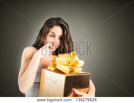 Woman eager to open a big gift