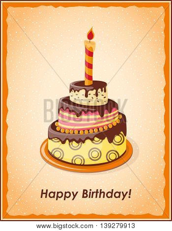 Festive colorful card with text Happy Birthday cake tier candle on the vintage background. eps10.