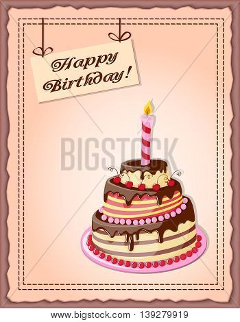 Festive colorful card with text Happy Birthday cake tier candle cherry on the vintage background. eps10.