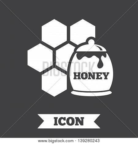 Honey in pot and honeycomb sign icon. Honey cells symbol. Sweet natural food. Graphic design element. Flat honeycomb symbol on dark background. Vector