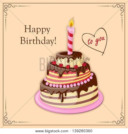 Festive colorful birthday card with cake tier candle text and cherry on the vintage background. eps10.