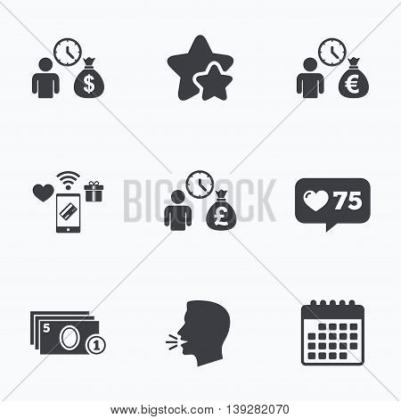 Bank loans icons. Cash money bag symbols. Borrow money sign. Get Dollar money fast. Flat talking head, calendar icons. Stars, like counter icons. Vector