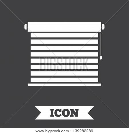 Louvers sign icon. Window blinds or jalousie symbol. Graphic design element. Flat louvers symbol on dark background. Vector