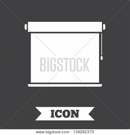 Louvers rolls sign icon. Window blinds or jalousie symbol. Graphic design element. Flat louvers rolls symbol on dark background. Vector