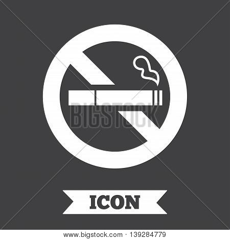 No Smoking sign icon. Quit smoking. Cigarette symbol. Graphic design element. Flat no smoking symbol on dark background. Vector