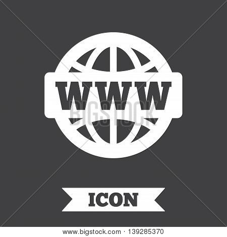 WWW sign icon. World wide web symbol. Globe. Graphic design element. Flat wWW internet symbol on dark background. Vector