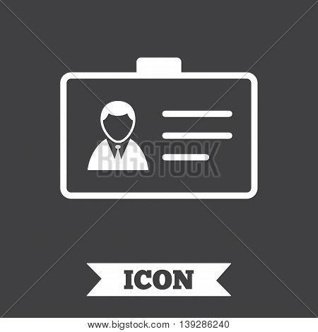 ID card sign icon. Identity card badge symbol. Graphic design element. Flat iD card symbol on dark background. Vector