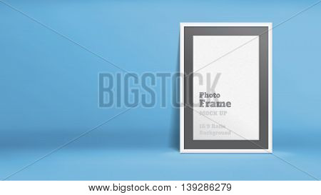 Vector, Blank Photo Frame In Blue Studio Room, Template Mock Up For Display Or Montage Of Your Conte