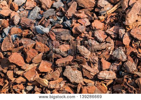 close up of bark chips mulching in garden