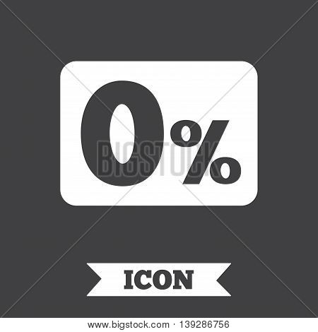 Zero percent sign icon. Zero credit symbol. Best offer. Graphic design element. Flat zero credit symbol on dark background. Vector