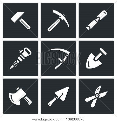 Hammer, Kirk, Chisel, Plugger, Scythe, Shovel, Axe, Trowel, Pruner.