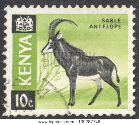 MOSCOW RUSSIA - JANUARY 2016: a post stamp printed in KENYA shows a sable antelope (Hippotragus niger) the series