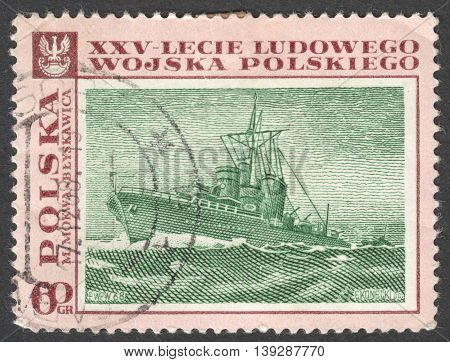 MOSCOW RUSSIA - CIRCA JANUARY 2016: a post stamp printed in POLAND shows a battle scenery the series