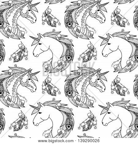 Unicorn seamless pattern with decorative elements. Fairy tale wallpaper. Fictional animal and orchids