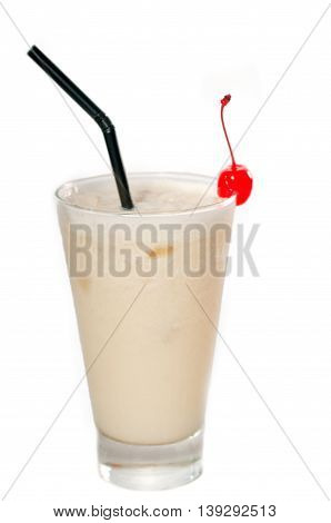 close up image of frozen banana daiquiri drink cocktail