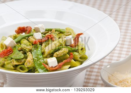Italian Penne Pasta With Sundried Tomato And Basil