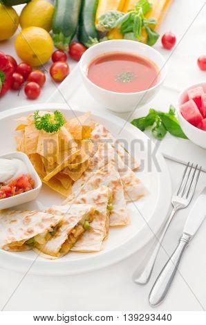 close up image of original mexican quesadilla de pollo