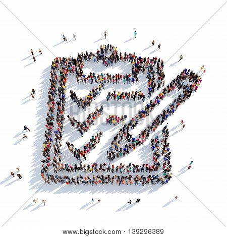 Large and creative group of people gathered together in the shape of filling in the questionnaire. 3D illustration, isolated against a white background. 3D-rendering.