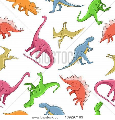 Seamless vector pattern of different dinosaurs on a white background. Wrapping paper. Children print.