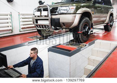SUV Car Maintenance Auto Service Diagnostics Garage Repair Shop Mechanics Modern Concept