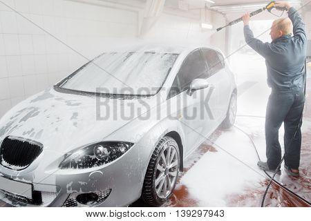 Automobile Wash Cleaness Hose Carwash Service Business Care Garage Concept