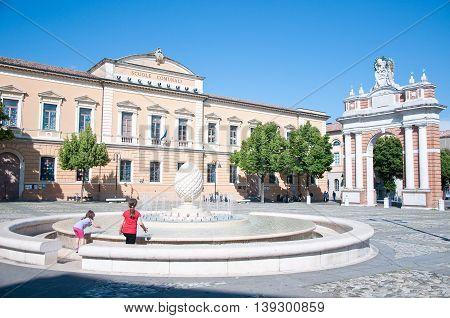 5 june 2016-santarcangelo di Romagna-italy- beautiful Ganganelli square in the city of Romagna santarcangelo italy