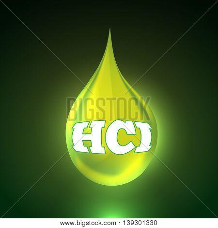 Vector illustration of acid background with big realistic drop. Bright green liquid