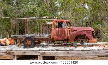 ROSA BROOK AUSTRALIA - APRIL 5 2016: A rusting truck known locally as a Ute parked at Rosa Brook in the Margaret River area of Western Australia.