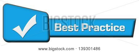 Best practice concept image with text and related symbol.