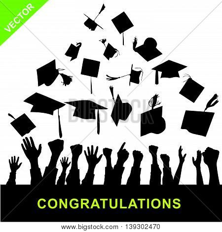 Graduate silhouettes vector on white color background