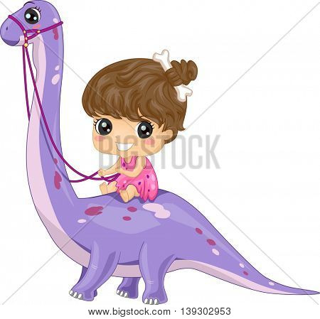 Illustration of a Little Girl Dressed as a Cave Woman Riding a Brontosaurus