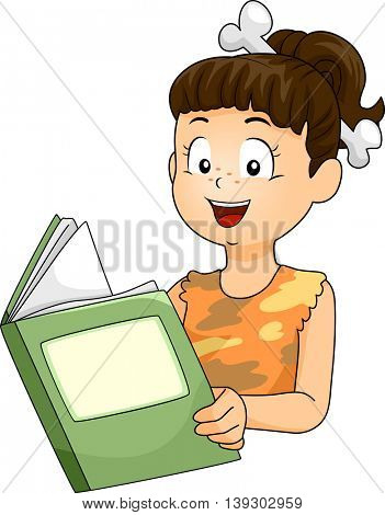 Illustration of a Little Girl Dressed as a Cave Woman Reading a Book