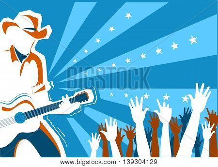 Country Music Concert With Singer And Guitar.vector Background