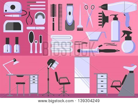 Set of hairdressing and manicure tools. Accessories and furniture for a beauty salon. Flat design icons. Vector illustration.