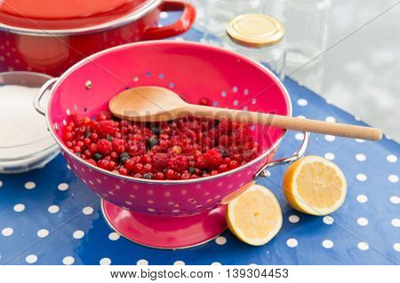 Making jam from redcurrants, raspberries and other red fruit