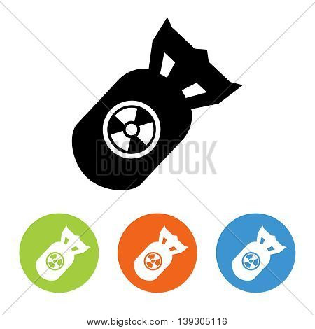 Flat nuclear rocket icons set vector. Black and white and colorful design