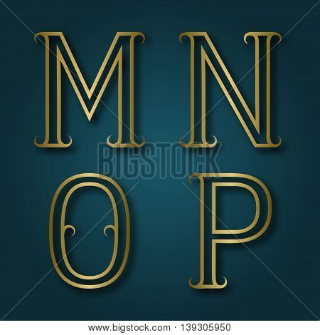 M N O P shiny golden letters with shadow. Outline font with flourishes. Type in art deco style.