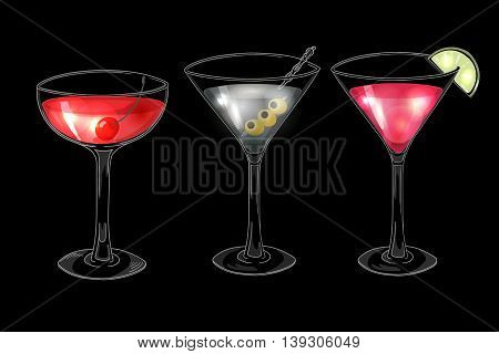 Set of hand drawn alcoholic cocktails on dark background. Manhattan, martini, cosmopolitan. Eps 10 vector illustration.