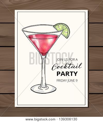 Cocktail party invitation on a wodden background. Hand drawn cocktail in martini glass with lime. Eps10 vector illustration.