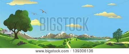 Panorama. Summer landscape. Vector illustration. Mountains and lakes - the view from the hill.