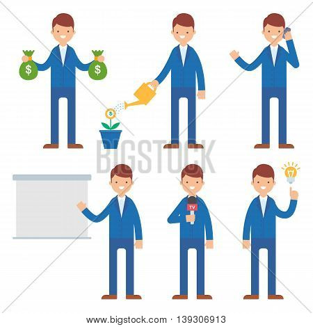 Businessman vector set vector illustration flat style