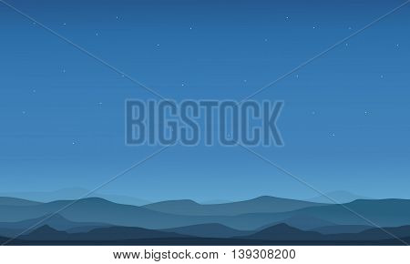 Desert landscape silhouettes on blue backgrounds vector