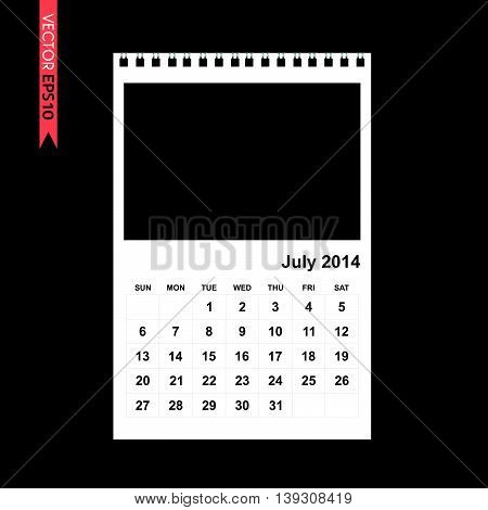 July 2014 calendar vector on white color background