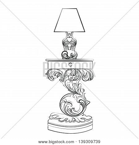 Vector Royal lamp and comode table with Acanthus ornament pedestal. Rich Classic Imperial furniture style