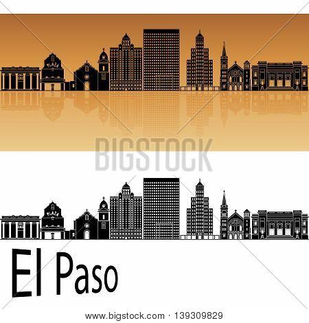 El Paso skyline in orange background in editable vector file